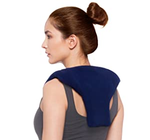 Sunny Bay Microwave Shoulder & Upper Back Heating Wrap, Heat Therapy Pad for Sore Neck & Shoulder Muscle Pain Relief – Thermal, Reusable, Non Electric Hot Pack Pads or Cold Compress, Medium, Navy Blue
