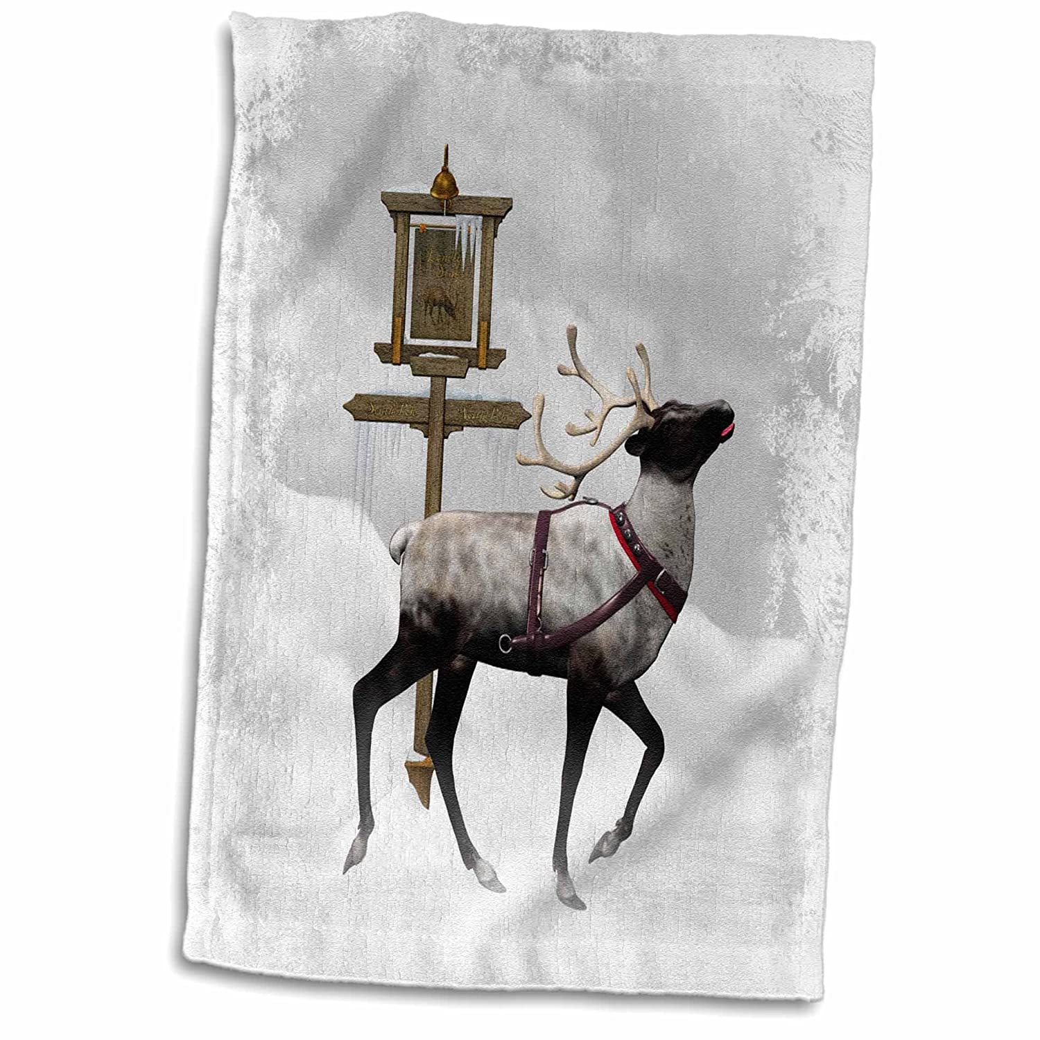 3D Rose A Reindeer Show The Way to The North Pole TWL_181787_1 Towel 15' x 22' Multicolor