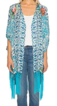 6a05ffe29887d Johnny Was Womens Horizon Silk Floral Print Kimono Blue XS at Amazon ...