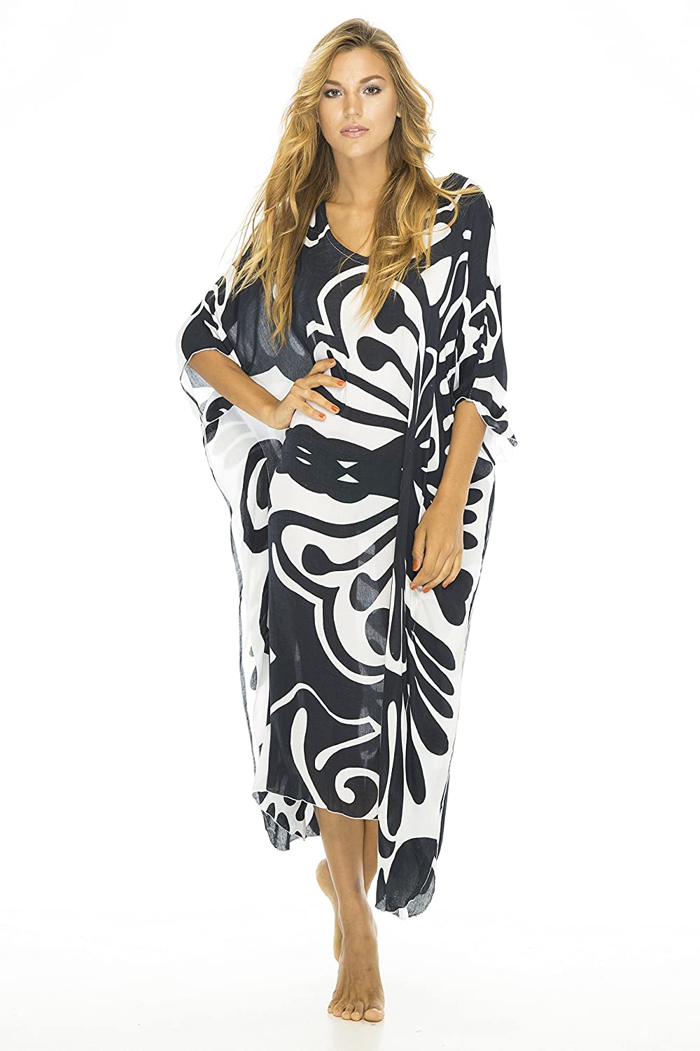 5db47a8058 Gorgeous, stylized butterfly print adds dramatic flair to this Roomy Caftan  Beach Dress Cover Up; choose from several uplifting colors. Generous one  size ...