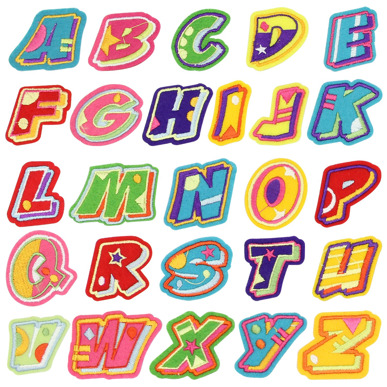 Name Iron on Patch, Satkago 26Pcs DIY Alphabet Letter Patches Embroidered  Patch Sew On Patches Applique for Clothes Jackets T-Shirt Jeans Skirt Vests