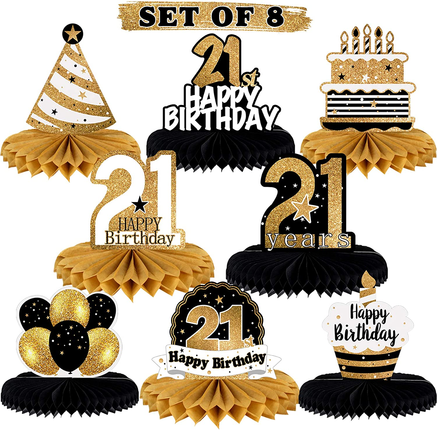 LINGTEER Happy 21st Birthday Table Honeycomb Centerpieces Perfect for Cheers to 21st Birthday 21 Years Old Party Table Decorations Gift Sign.