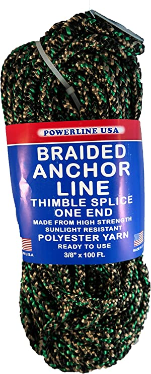 Black 3//8-Inch x 50-Feet Rope USA Braided Anchor Line