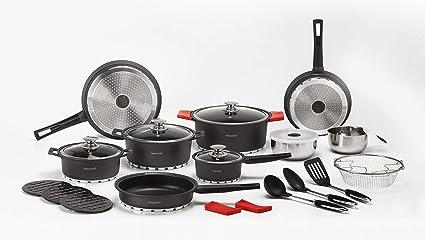 NEWCHEF Batería de Cocina de Aluminio Fundido, 27 piezas, Juego de Utensilios de Cocina