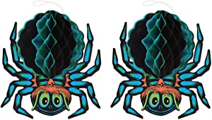 "Beistle Tissue Spiders, 2 Piece Vintage Halloween Decorations, 12"" x 12.5"", Blue/Black/Brown/Green"