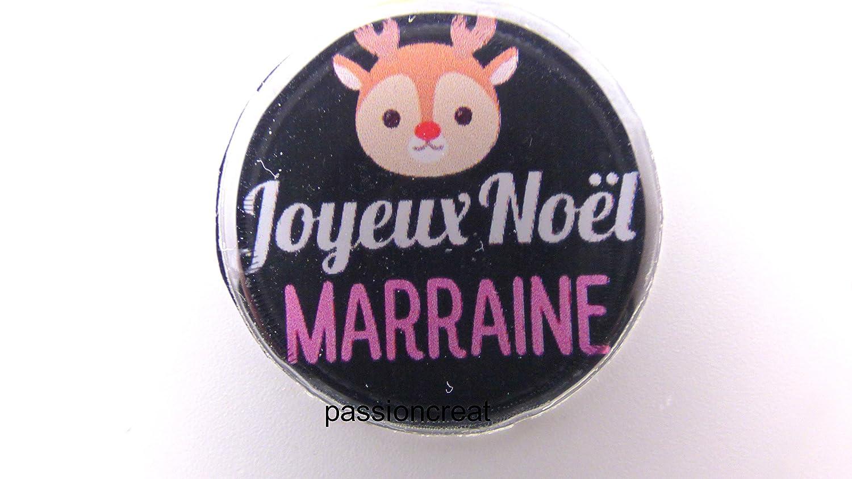 un miroir de poche argenté  joyeux noël marraine 56mm idée cadeau noël...