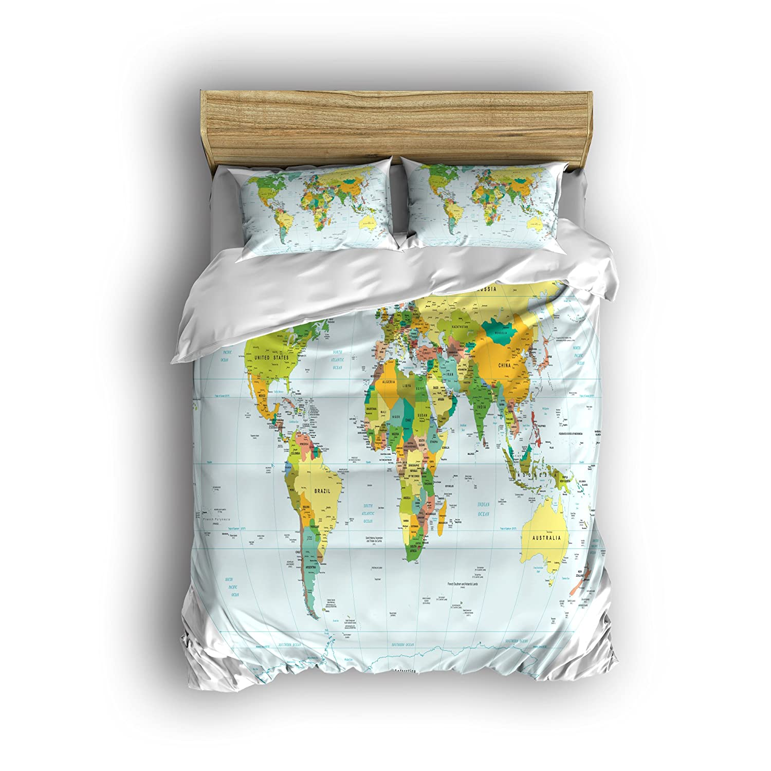 Amazon.com: 4pc World Map Reversible Duvet Cover Set with 2 ...