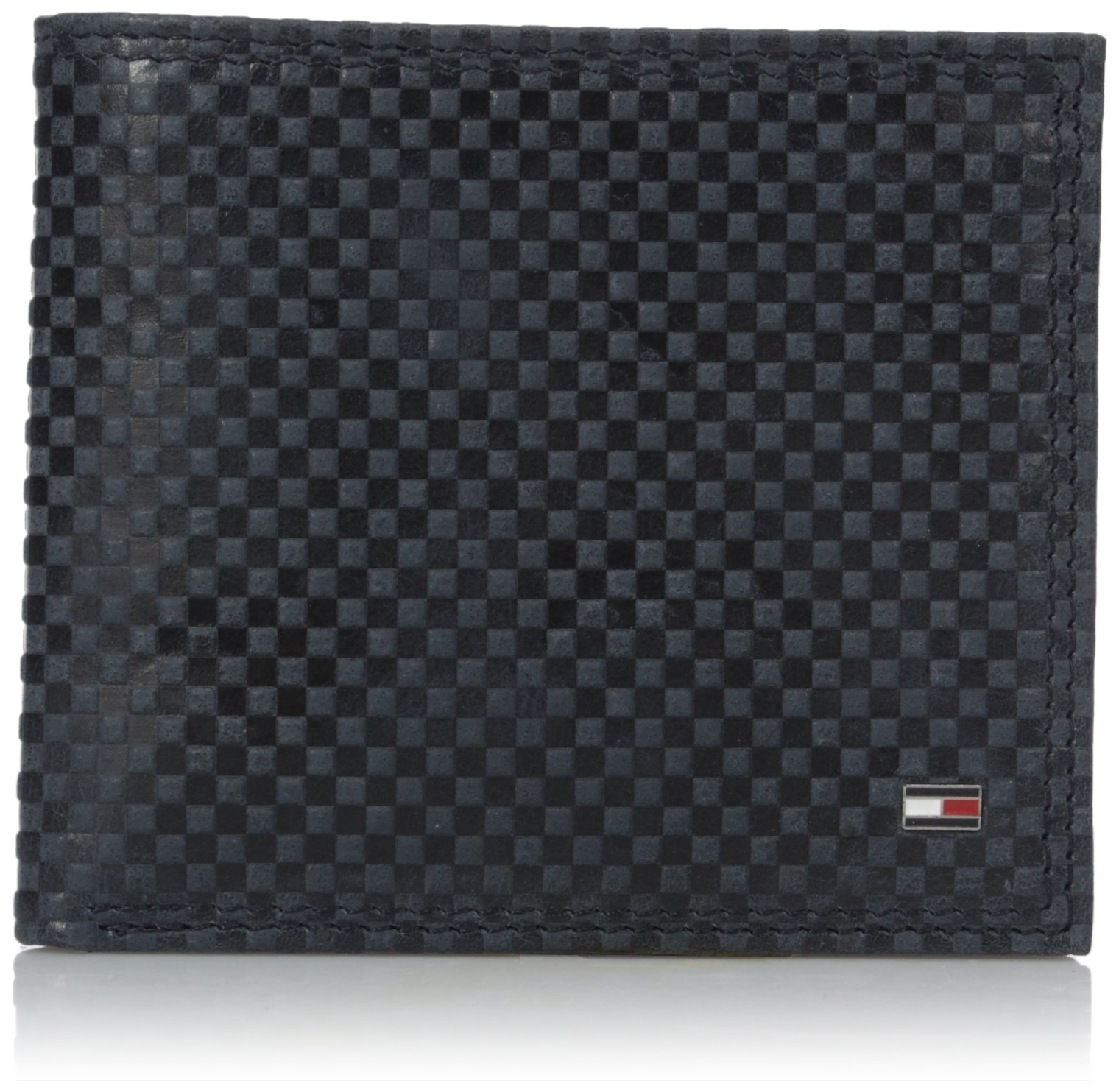 Tommy Hilfiger Men's Bifold Wallet - Leather Slim Thin Classic Billfold for Men with Credit Card Slots, Navy with Zipper, One Size by Tommy Hilfiger