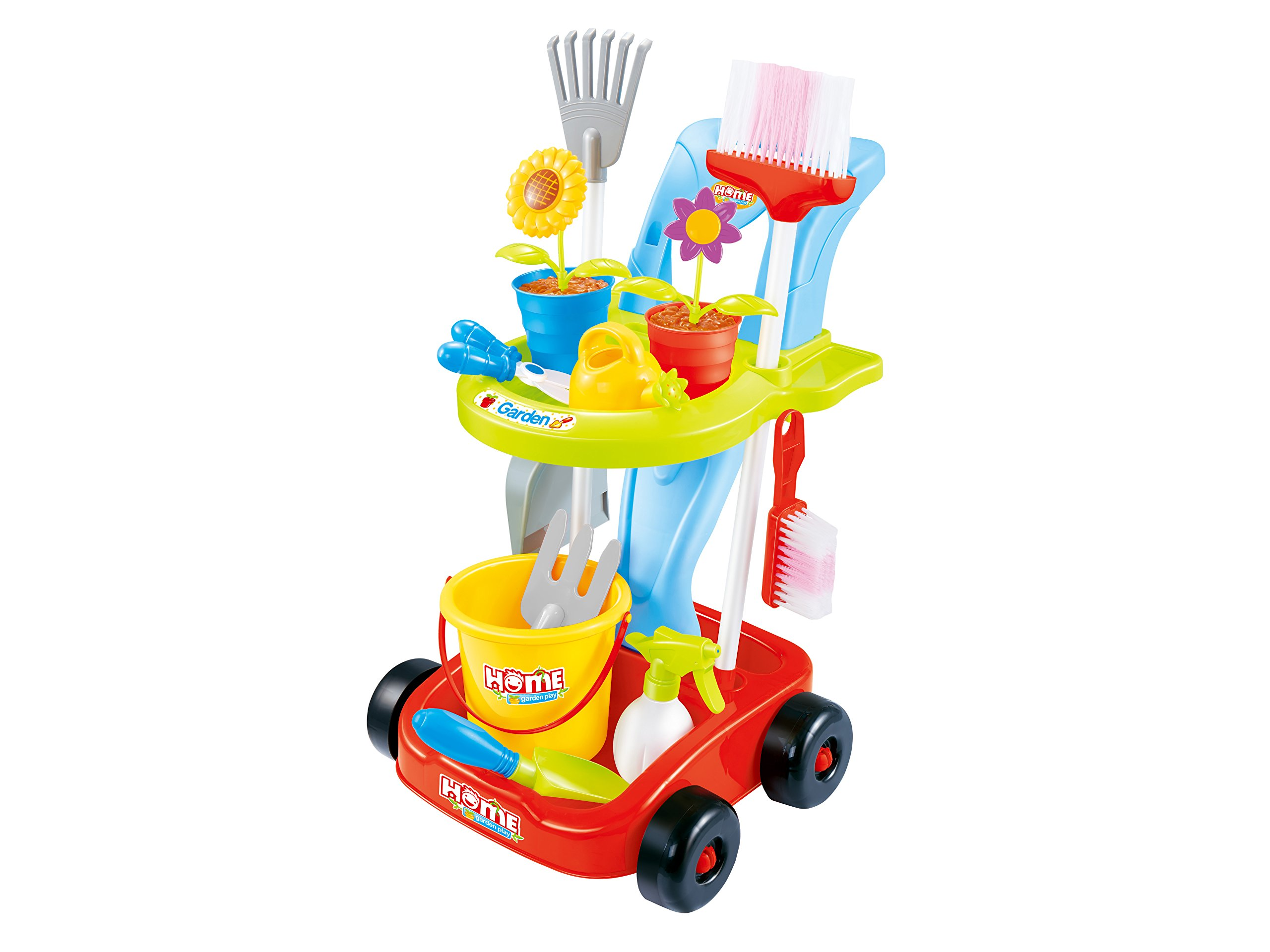Kids Cleaning Set and Gardening Tools 24pcs Garden and Housekeeping Toys with Leaf Rake, Watering Can, Gardening Hand Cultivator, Trowel,Shovel and Pretend Potted Flower, All in One Gardening Trolley by The M World