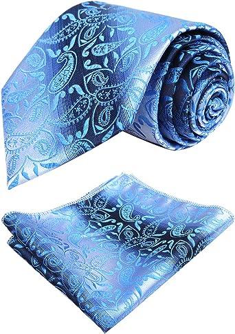 Alizeal-Juego de Corbata y Pañuelo Degradado Paisley Hombre Azul ...