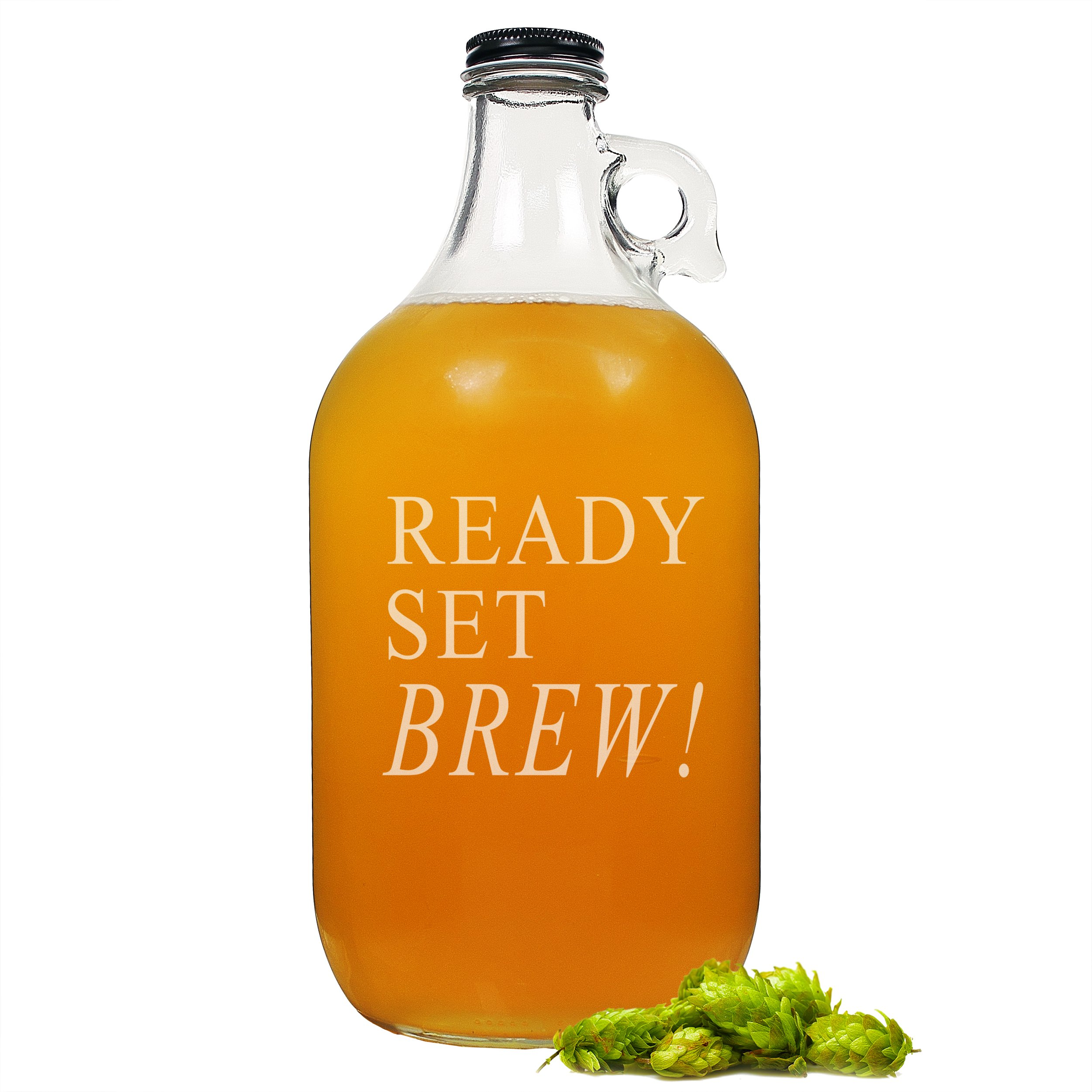 Cathy's Concepts Ready Set Brew! Glass Growler Beer Bottle