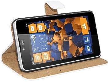 mumbi Ledertasche im Bookstyle für Microsoft Lumia 640 Tasche weiss