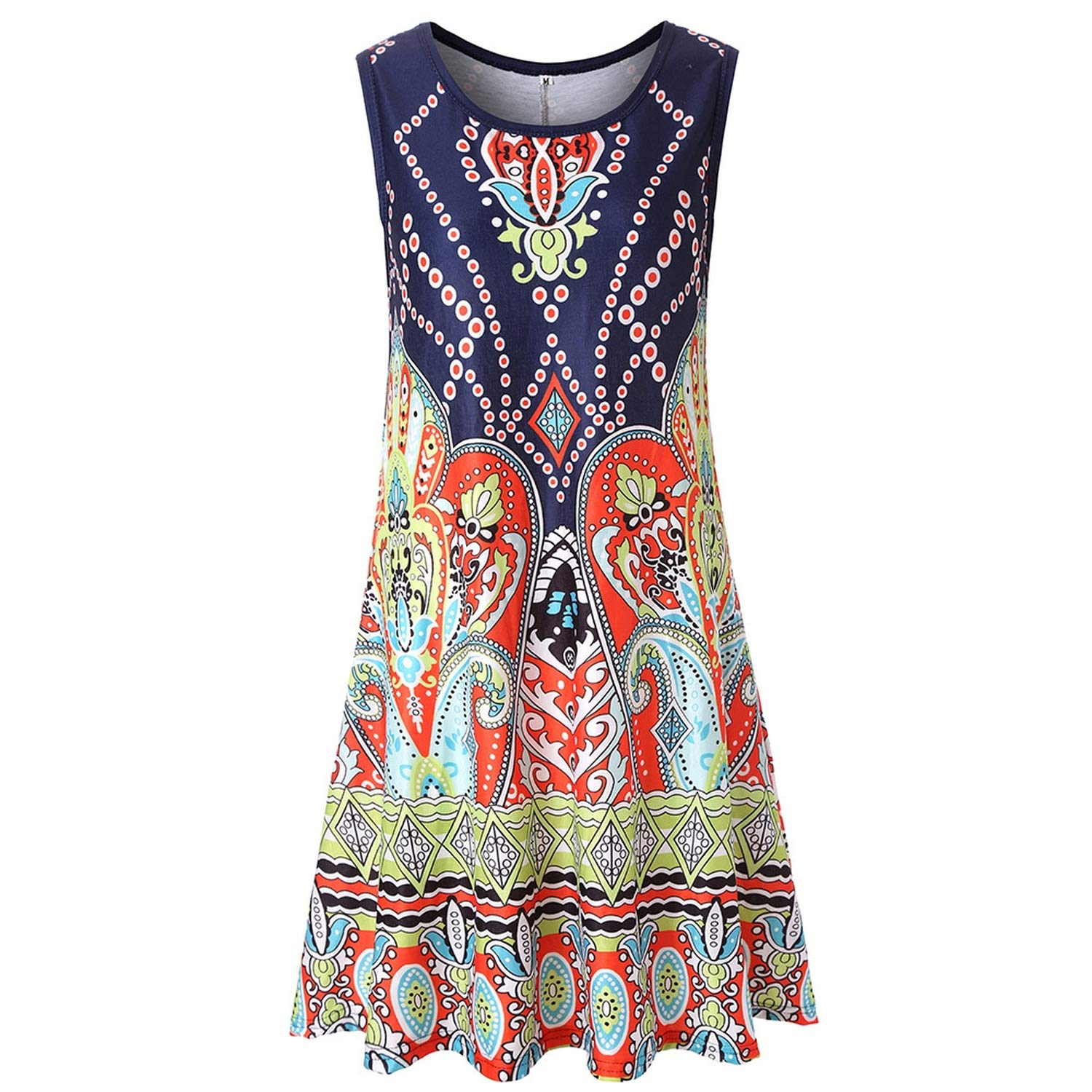 Summer Europe and The United States Explosions Print Sleeveless Hooded Large Dress
