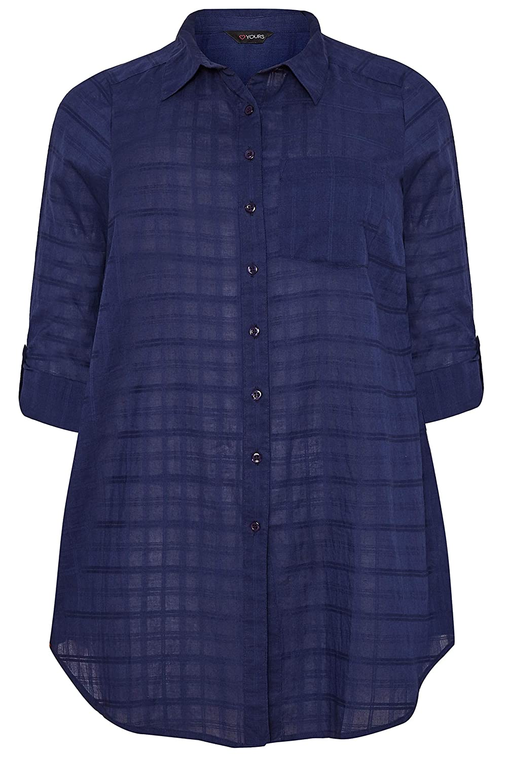 Yours Clothing Women/'s Plus Size Yours London Navy Overhead Shirt