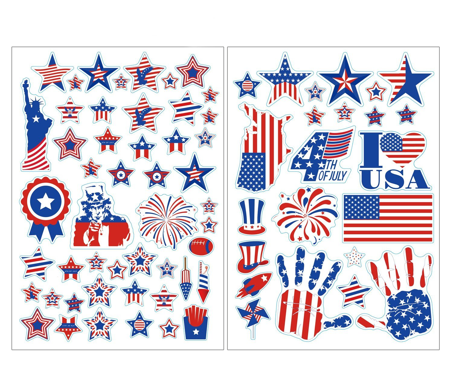 jollylife 4th/Fourth of July Window Clings Decorations - Patriotic Red White Blue Party Supplies Decor 140+
