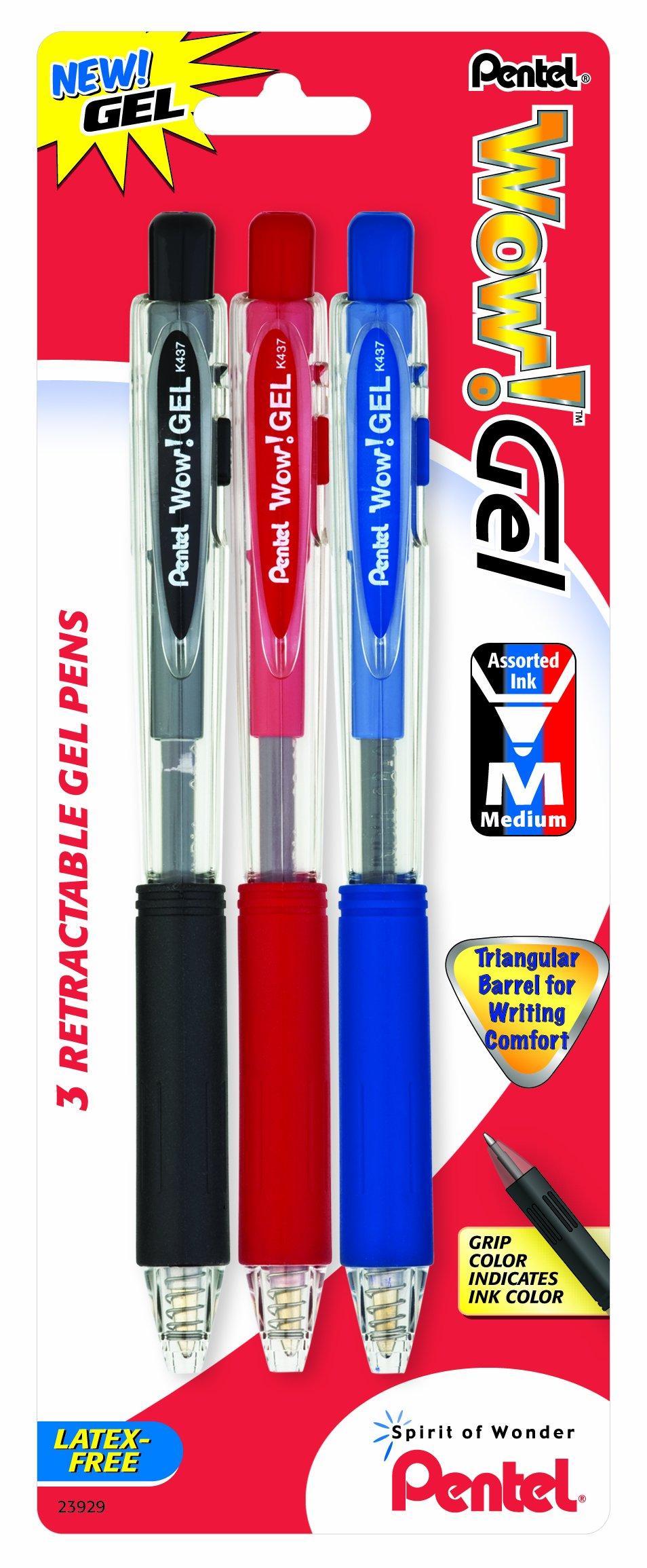 Pentel Wow! Gel Retractable Gel Pen, 0.7mm, Assorted Ink, 3.