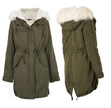 WOMENS LADIES TOPSHOP FULLY LINED KHAKI FISHTAIL PARKA COAT SIZE ...