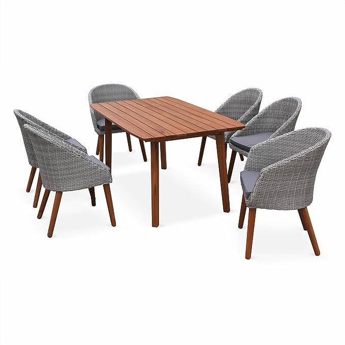 Alices Garden Portugal - Conjunto de jardín de madera y resina trenzada redonda- Huesca - Mesa rectangular de madera de 160 cm, 2 sillones y 4 sillas, Eucalyptus FSC engrasado, diseño escandinavo: Amazon.es: Jardín