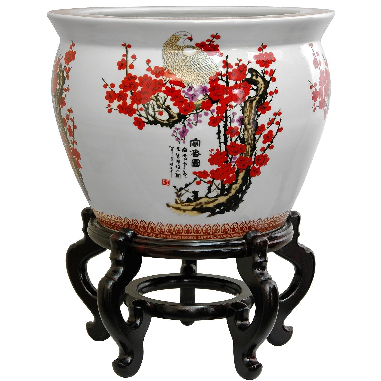"Oriental Furniture 12"" Cherry Blossom Porcelain Fishbowl"