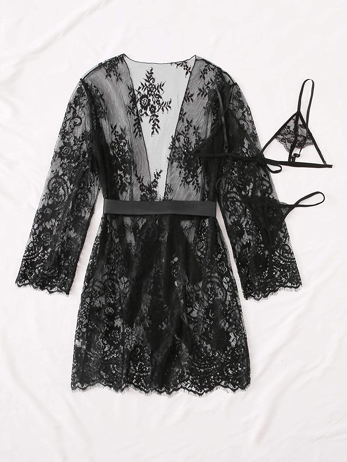 SOLY HUX Womens Plus Size 3 Piece Lace Bra and Panty Lingerie Set with Belted Robe