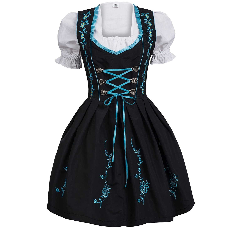 Gaudi-Leathers Femme 4 pieces Robe Dirndl Set noir avec bleu Costume bavarois pour Oktoberfest Fete DOktobre Carnaval avec cha/îne de costume