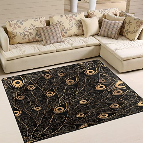 ALAZA Gold Black Peacock Feather Area Rug Rugs Mat
