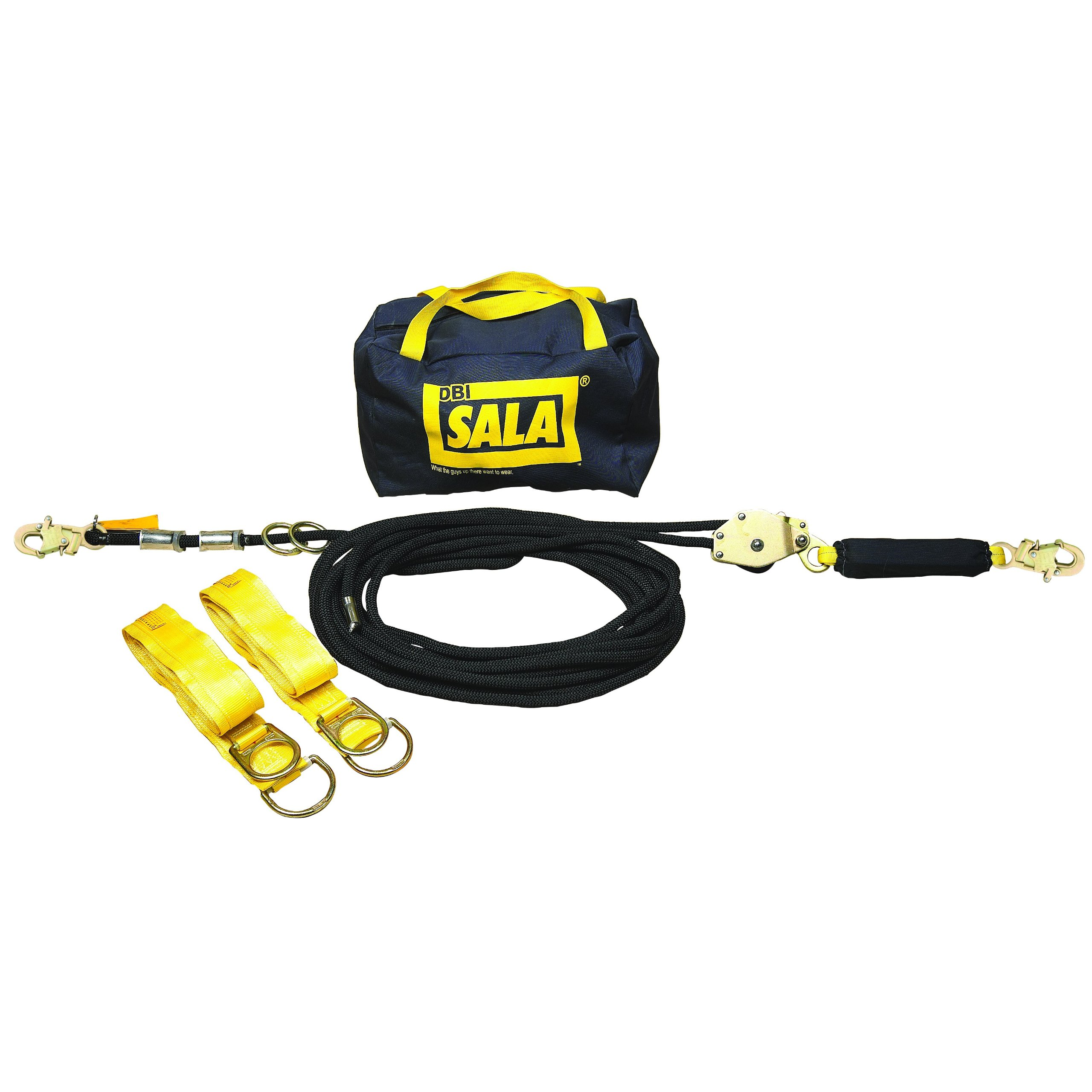 3M DBI-SALA 7600503 Horizontal Lifeline System, 30' Kernmantle Rope with Tensioner, Energy Absorber, Two 6' Tie-Off Adaptors, Carrying Bag, Black