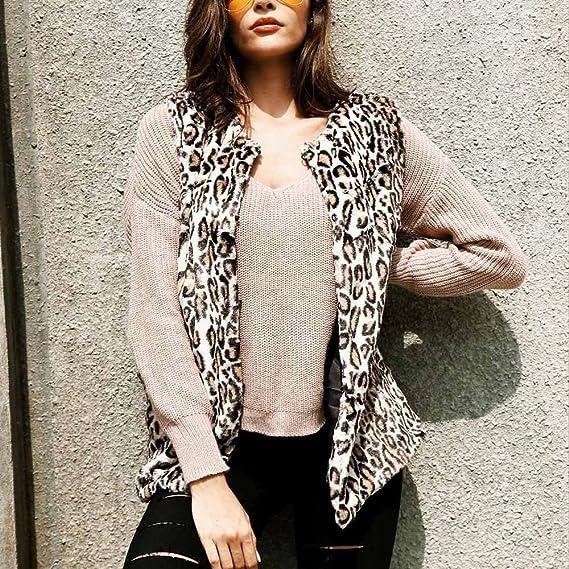 JiaMeng Abrigos Largo de Mujer Plumas, Chaleco de Piel SintšŠtica Chaleco de Leopardo Chaqueta de Abrigo Chaleco de Abrigo de Parka Outwear: Amazon.es: Ropa ...
