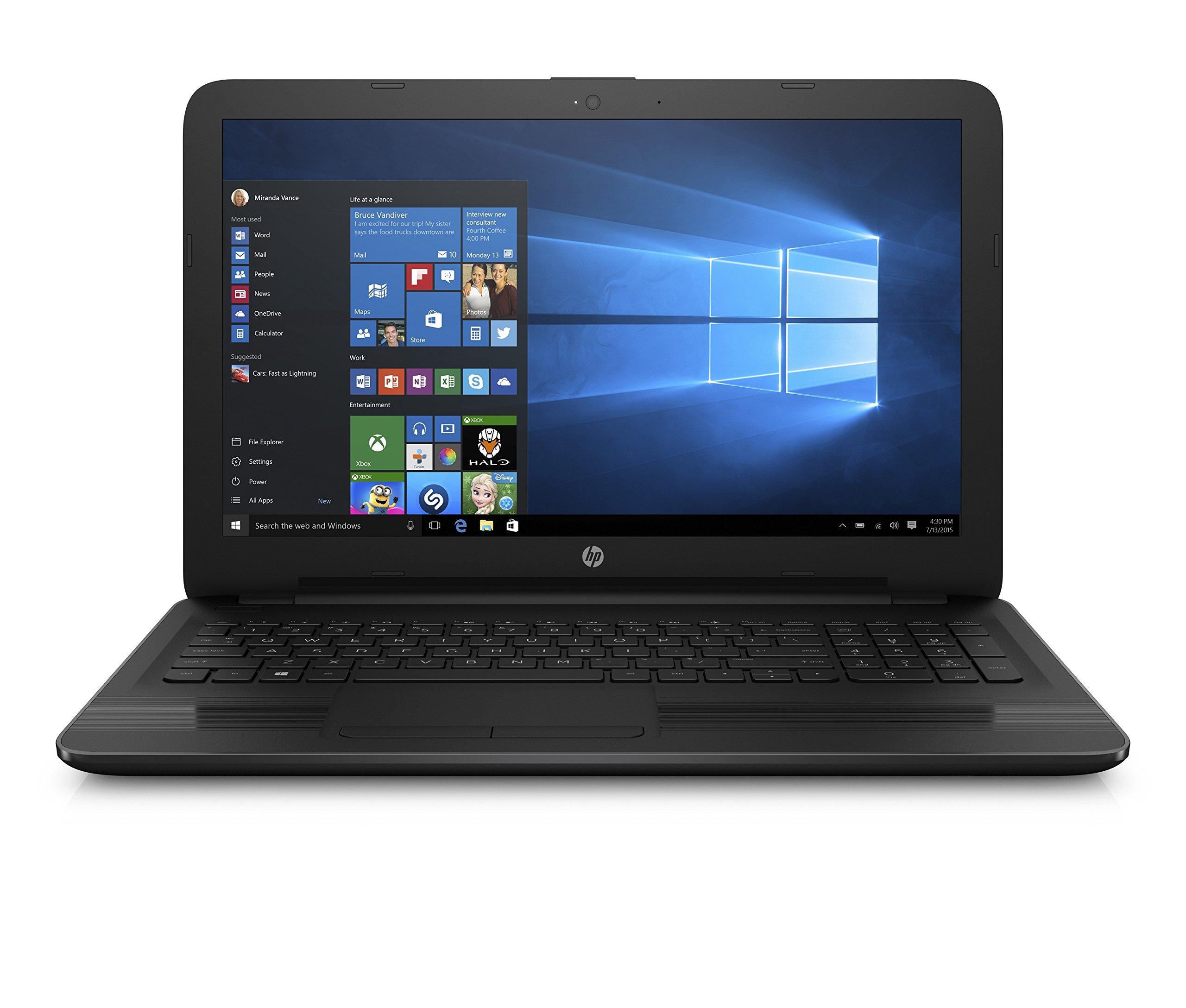 New HP Notebook Laptop 15.6 HD Vibrant Display Quad Core AMD E2-7110 APU 1.8GHz 4GB RAM 500GB HDD DVD Windows 10