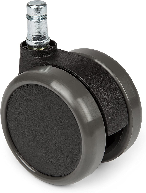 Hjh OFFICE 619010 Ruedas ROLO para suelo duro ruedas de goma para sillas de oficina (11 mm x 65 mm, 5 unidades)