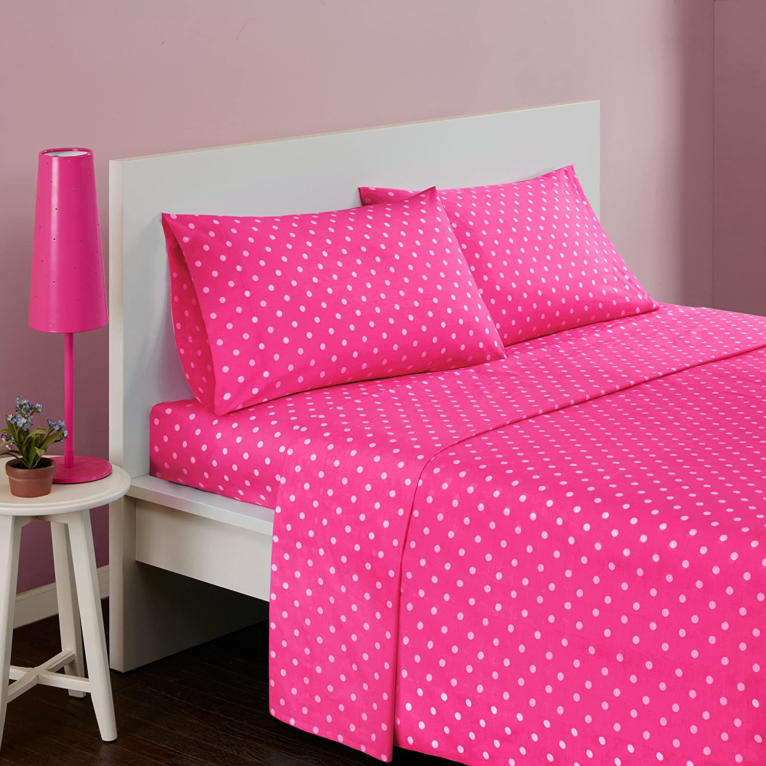 3 Piece Girls Polka Dot Dark Pink Twin Deep Pocket Sheet Set, Hot Pink Solid Color, All Over Dot Design Circles Teen Bedding Kids Bedroom Bold Colorful Fun Contemporary Modern, Percale Cotton