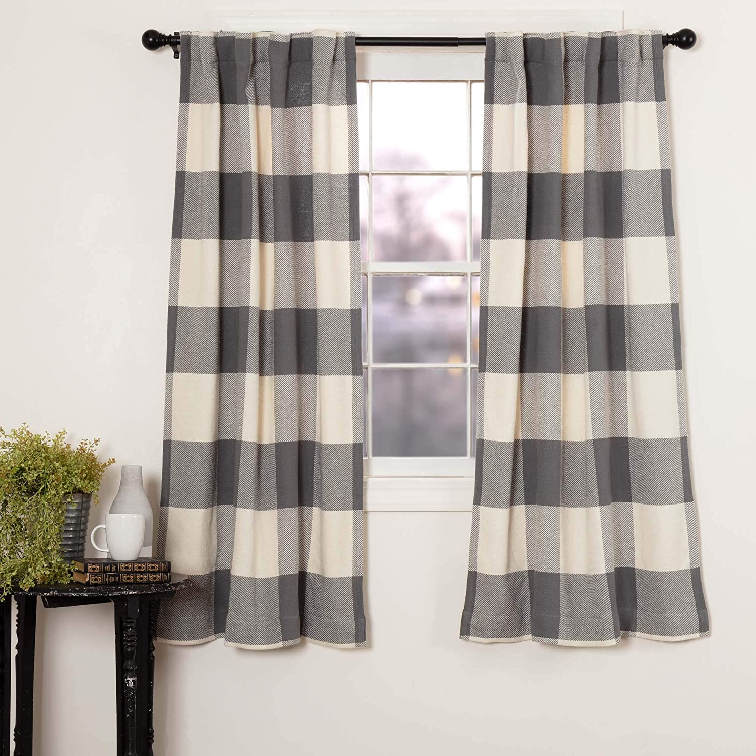 "Piper Classics Carter Gray Curtain Panels, Set of 2, 63"" Long, Modern Rustic Farmhouse Curtains, Dark Gray Check Drapes"