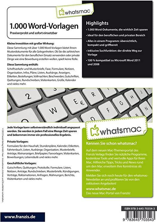 Whatsmac 1000 Word Vorlagen Amazonde Software