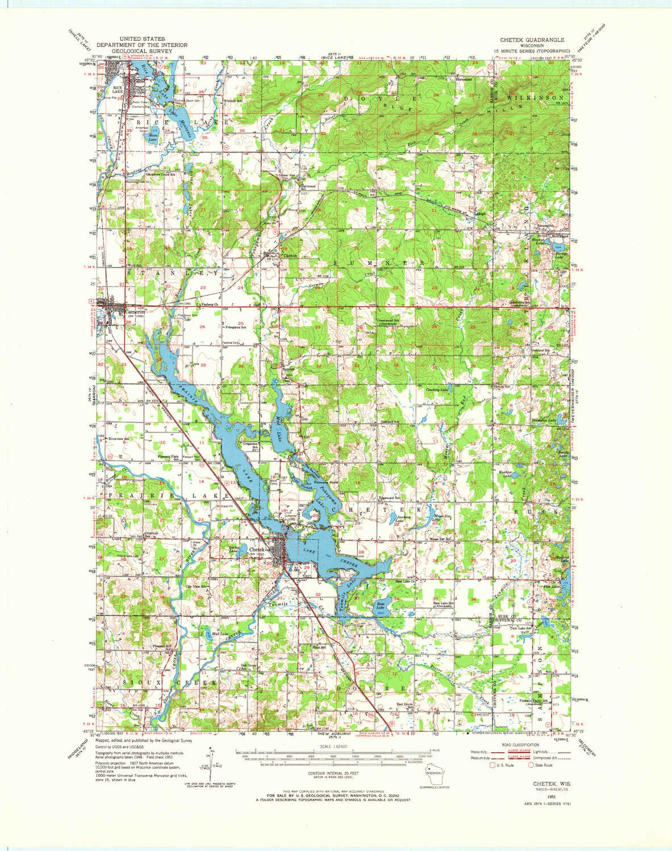Amazon Com Yellowmaps Chetek Wi Topo Map 1 62500 Scale 15 X 15