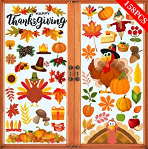 Joy Bang 158PCS Thanksgiving Window Clings Fall Leaves Window Stickers Decorations Autumn Window Decal Turkey Window Sticker for Home Office Thanksgiving Party Decor Supplies
