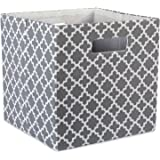 DII Hard Sided Collapsible Fabric Storage Container for Nursery, Offices, Home Organization, (13x13x13) - Lattice Gray