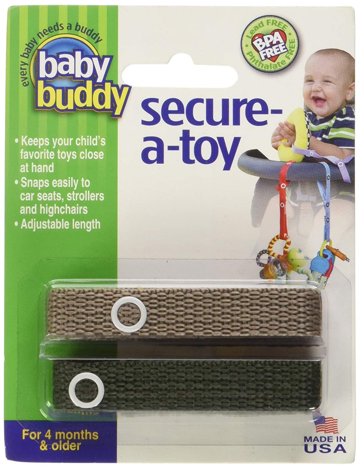 Baby Buddy 2 Piece Secure-A-Toy Safety Strap, Blue/Gold Compac Industries 01148BGd