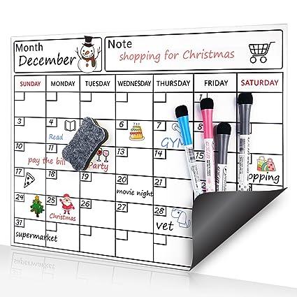 Pizarra magnética con organizador semanal y planificador mensual de borrado en seco, diseño blanco con