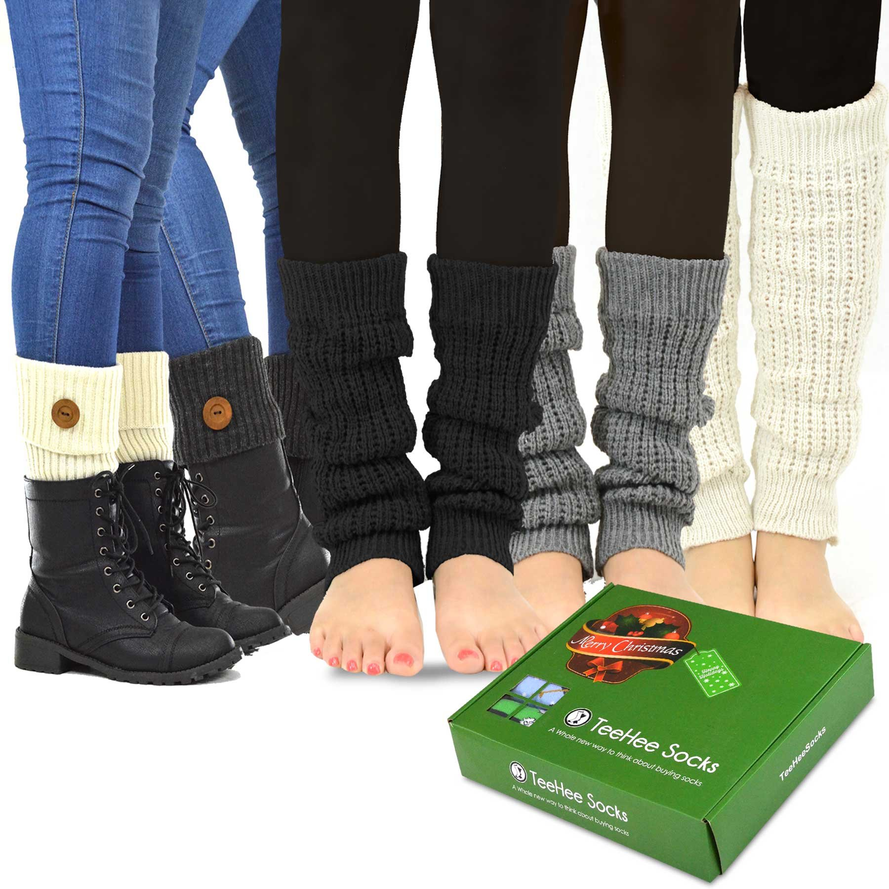 TeeHee Women's Fashion Leg Warmers and Boot Toppers 5- Pack with Gift Box Set (Style-A)