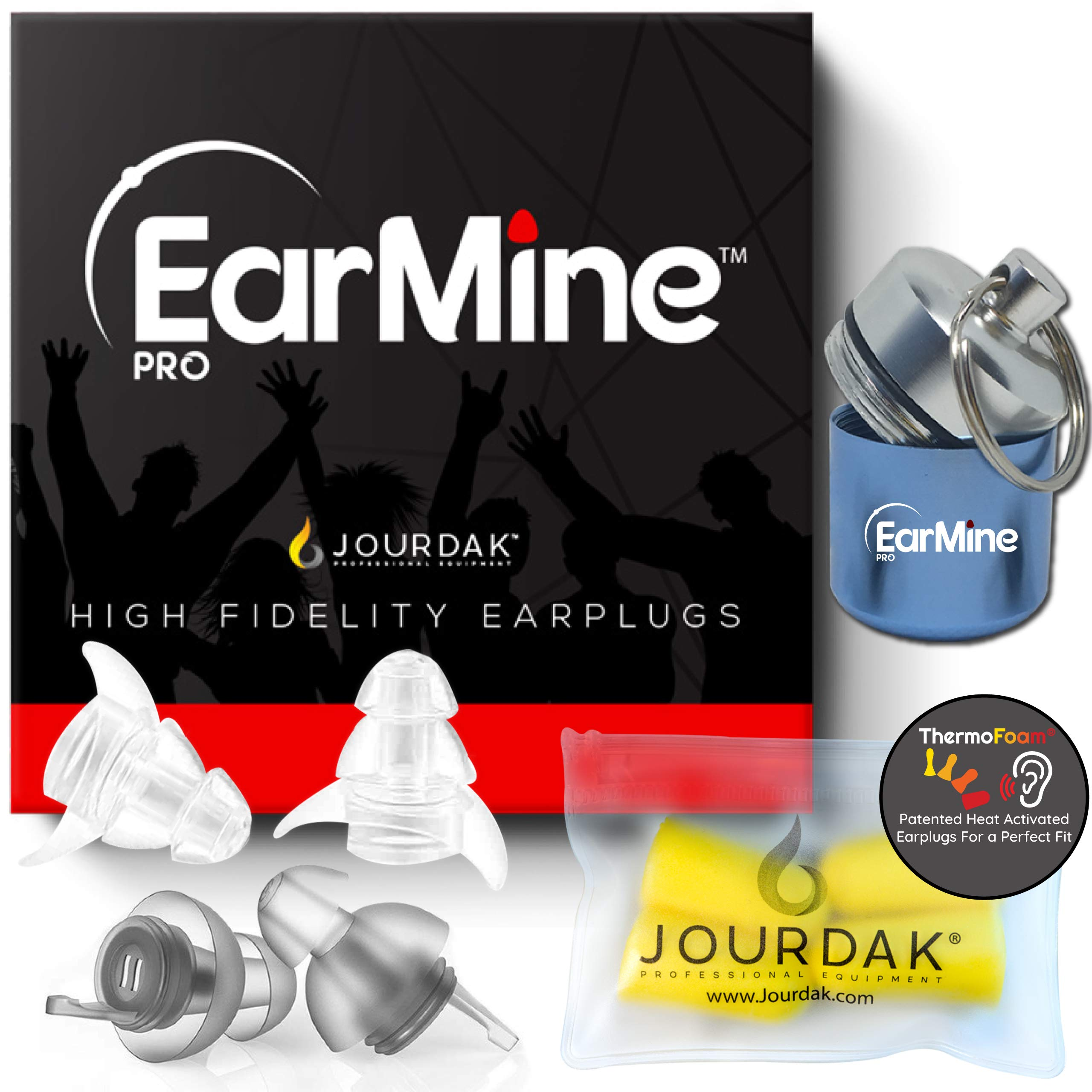 New High Fidelity Ear Plugs by Jourdak - Hearing Protection for Concerts Musicians Motorcycles, Loud Events - Help Cancel Reduce or Filter Out Noise at Harmful Decibel Levels w/ Sensitivity Conditions