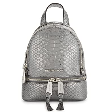 cad9199a52af MICHAEL by Michael Kors Rhea Zip Extra Small Python Embossed Leather  Backpack one size Pewter