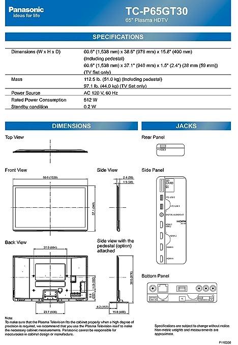 amazoncom panasonic viera tcp65gt30 65inch 1080p 3d plasma hdtv model electronics