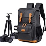EverVanz Multi-Functional Camera Canvas Backpack Waterproof Photography Equipment Travel Bag for Tripod, DSLR Canon Nikon Sony