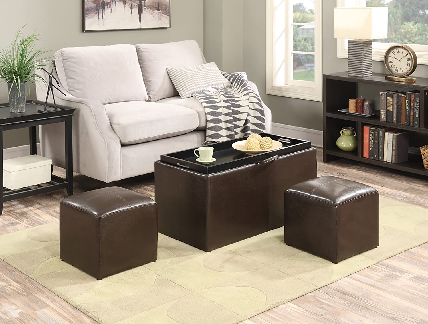 Amazon.com: Convenience Concepts 143012 Sheridan Faux Leather Storage Bench  With 2 Side Ottomans, Dark Espresso: Kitchen U0026 Dining