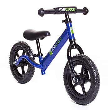 side facing blue croco premium and ultra-light balance bike
