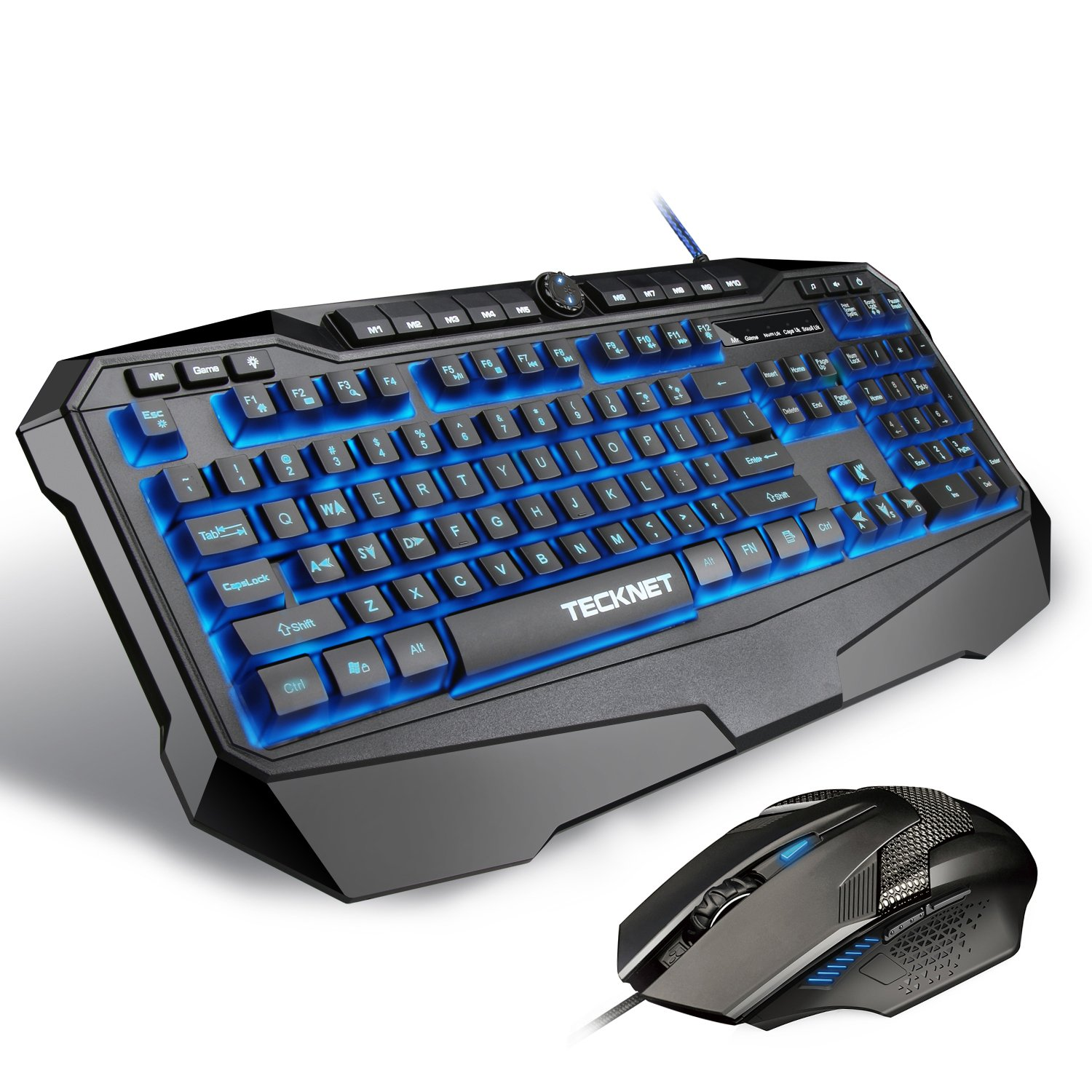 TECKNET Gryphon Pro LED Illuminated Programmable Gaming Keyboard and Mouse  set, Water-Resistant Design, US layout