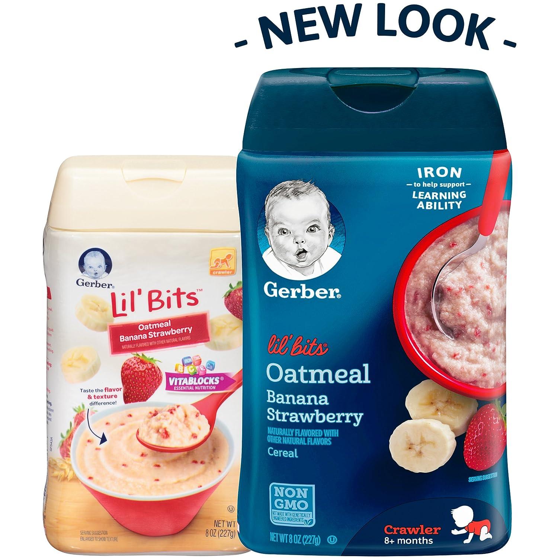 Gerber Lil Bits Oatmeal Banana Strawberry Baby Cereal, 8 oz (Pack of 6): Amazon.es: Alimentación y bebidas