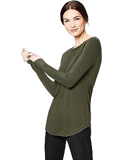 8b7c1ca50bac Daily Ritual Women s Supersoft Terry Long-Sleeve Shirt with Shirttail Hem