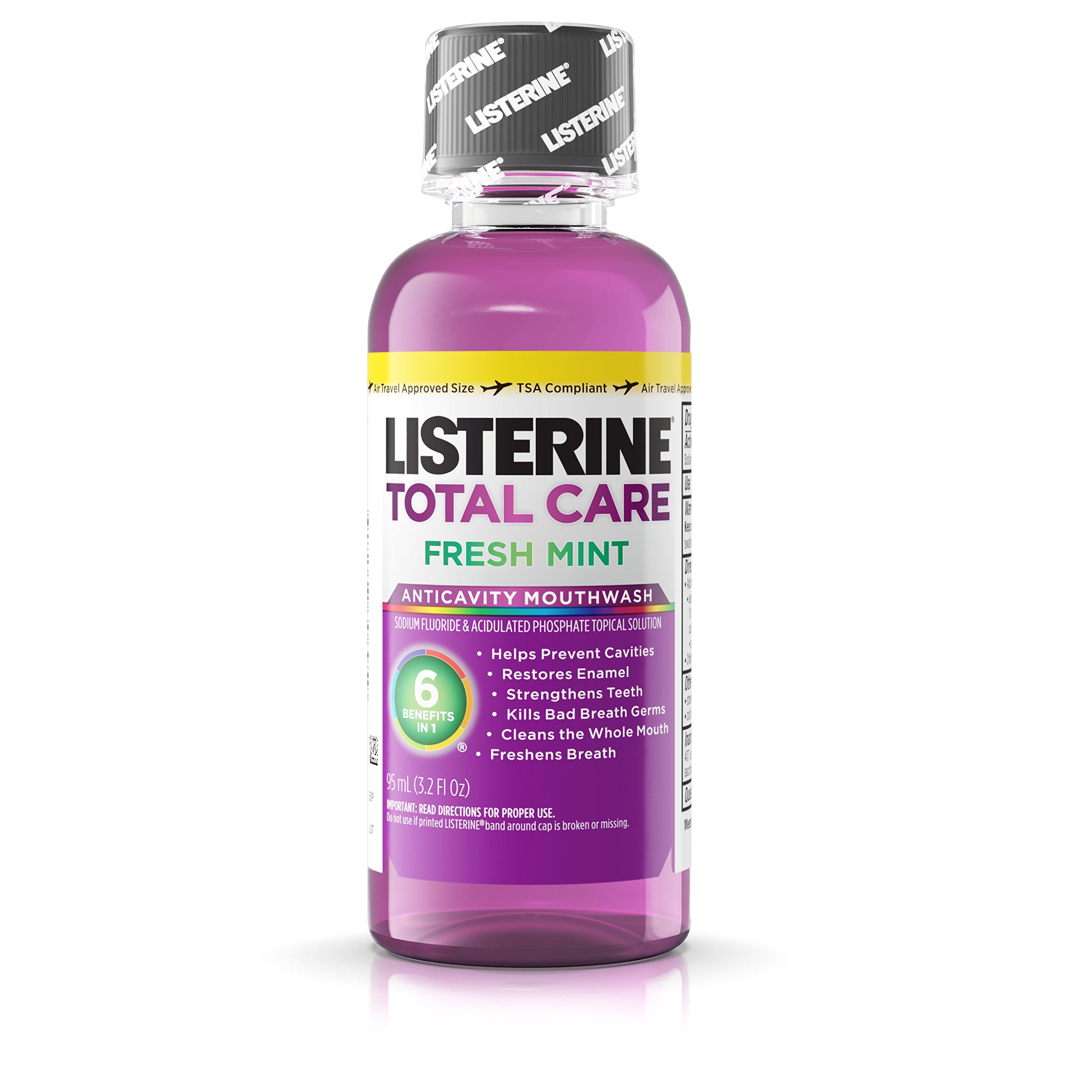 Listerine Total Care Anticavity Mouthwash, Fresh Mint, 3.2 Ounce (Pack of 24)