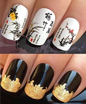 Nail decals water transfers stickers art set 209 plus gold leaf nail decals water transfers stickers art set 209 plus gold leaf sheet for custom prinsesfo Gallery